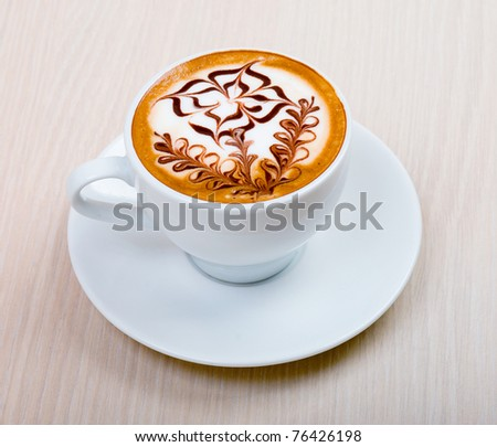 Chocolate  cappuccino time.Cup of coffee - stock photo