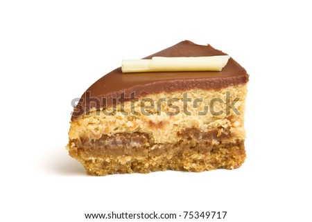 Chocolate caramel cheesecake wedge isolated on white from low perspective. - stock photo