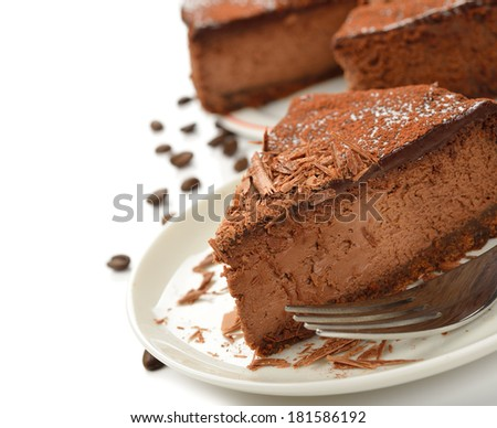Chocolate cheesecake on a white background