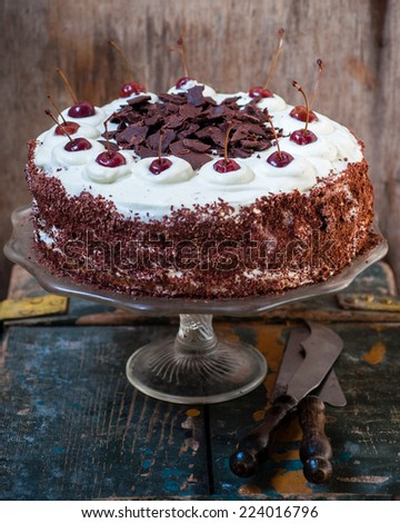 Chocolate cherry cake with whipped cream, selective focus - stock photo