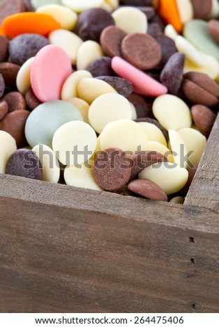chocolate chip assortment in a wooden box - stock photo
