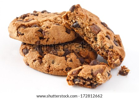 Chocolate chip cookie on white - stock photo