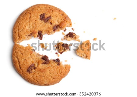 Chocolate Chip Cookie on White background. - stock photo