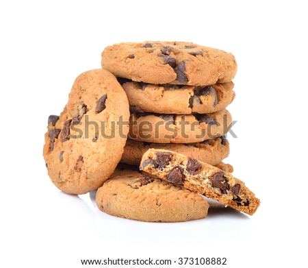 Chocolate chip cookie on white background