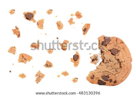 chocolate chip cookie pieces isolated on white background