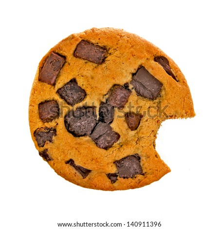 Chocolate Chip Cookie with Bite Isolated on White Background - stock photo