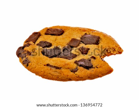 Chocolate Chip Cookie with Bite Missing Isolated on a White Background - stock photo
