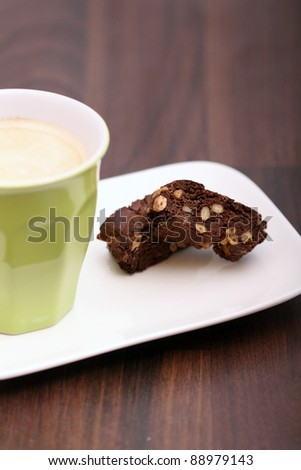 chocolate chip cookie with coffee - stock photo
