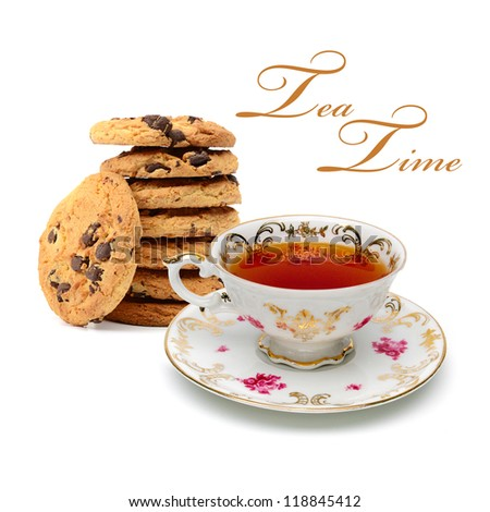 Chocolate chip cookies and cup of tea on white background - stock photo