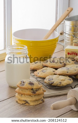 Chocolate Chip Cookies and Ingredients - stock photo