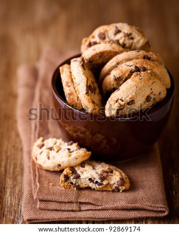 Chocolate chip cookies in a cup - stock photo