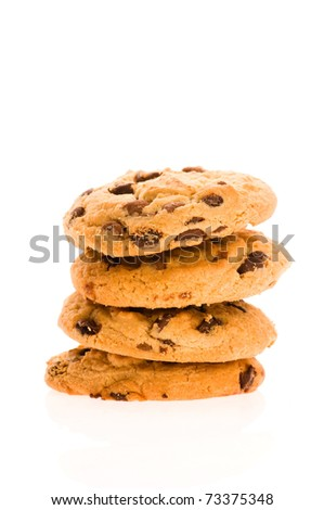 Chocolate Chip Cookies isolated on the white - stock photo