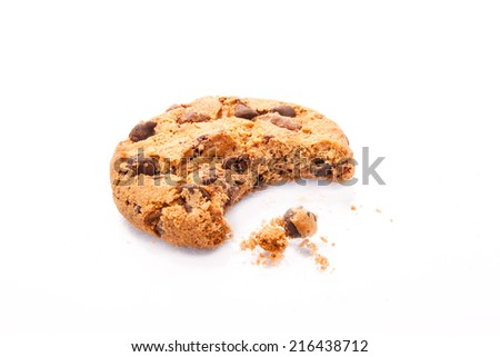 Chocolate chip cookies isolated on white background - stock photo