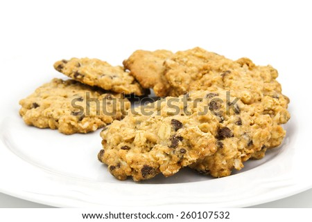 Chocolate chip cookies isolated on white background. - stock photo