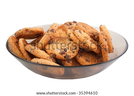 Chocolate Chip Cookies. Isolated over white .