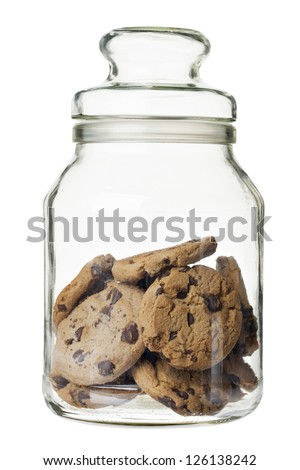 Chocolate chip cookies on a glass jar - stock photo