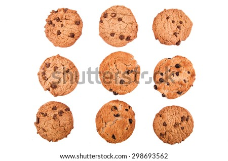 chocolate chip cookies on white - stock photo