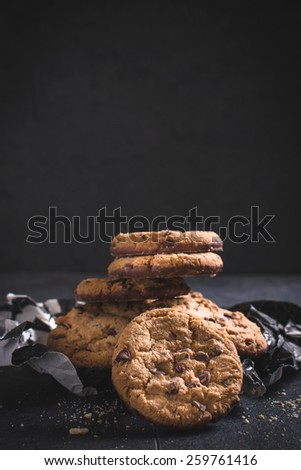 Chocolate chip cookies,selective focus and blank space