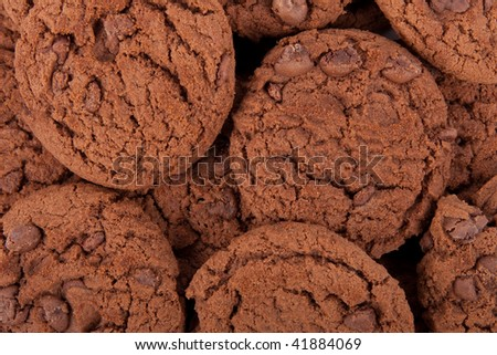 Chocolate chip cookies texture background. - stock photo