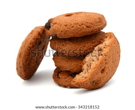 chocolate chip cookies with peanuts, isolated on white - stock photo