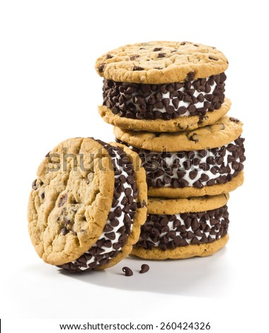 Chocolate Chip Ice Cream Cookie Sandwiches on White Background - stock photo