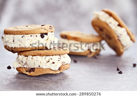 Chocolate chip ice cream cookies with extreme shallow depth of field. - stock photo