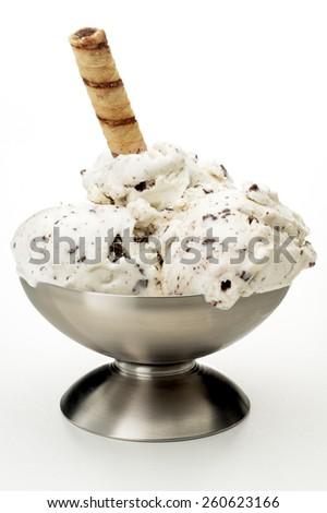 Chocolate Chip Ice Cream Sundae - stock photo