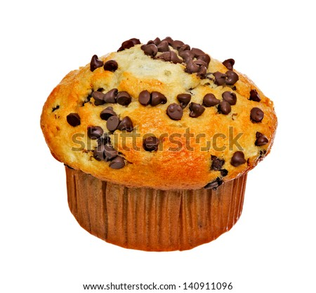 Chocolate Chip Muffin Isolated on White Background - stock photo