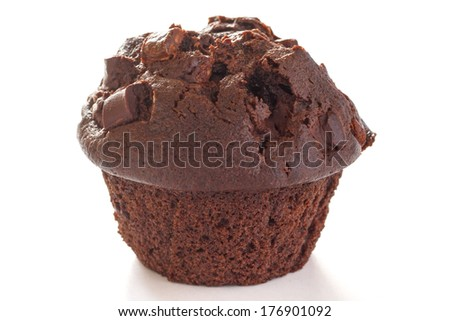 Chocolate chip muffin on white background - stock photo