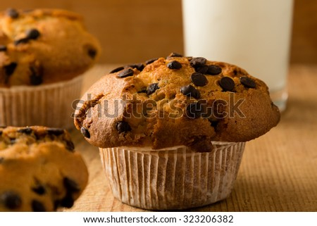chocolate chip muffins on wooden table with milk