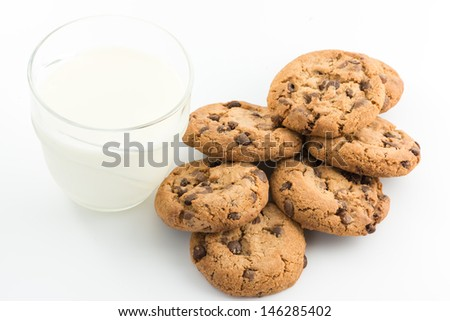 Chocolate chips cookie and milk on white background - stock photo
