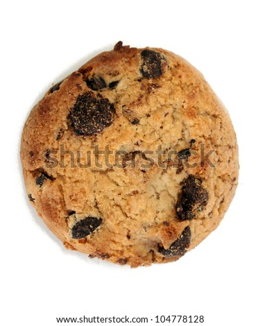 Chocolate chips cookie isolated on white