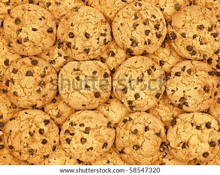Chocolate chips cookies wallpaper background - stock photo