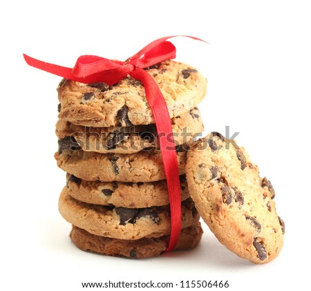Chocolate chips cookies with red ribbon isolated on white - stock photo