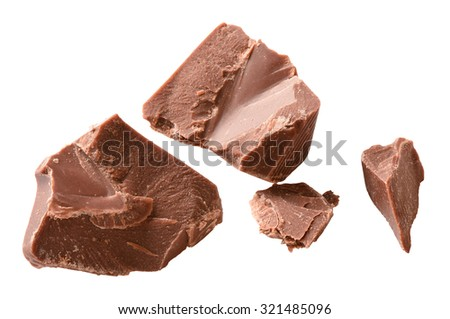 chocolate chips isolated - stock photo