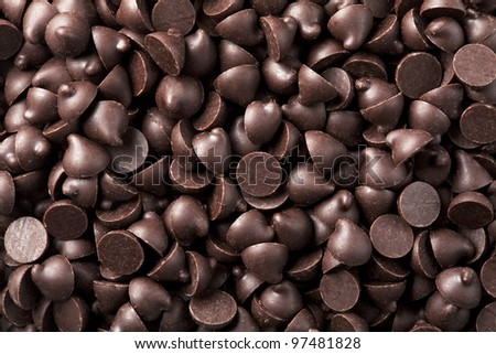 Chocolate chips that are laid in the background