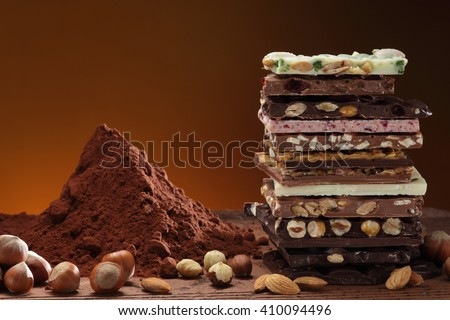 Chocolate / Chocolate bar / chocolate background/ nut chocolate / chocolate tower