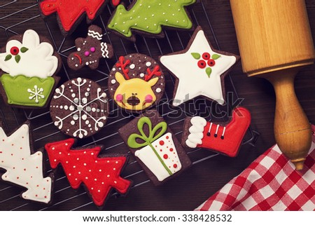 Chocolate christmas cookies on a wooden brown background - stock photo