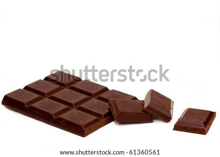 Chocolate chunks isolated against a white background - stock photo
