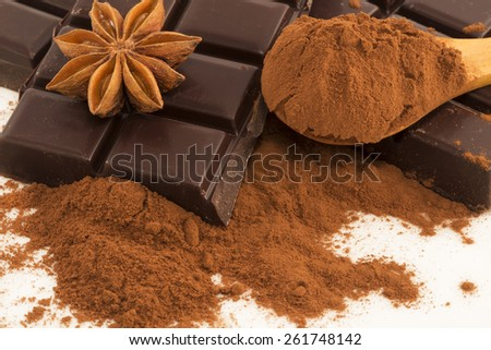 Chocolate,cocoa and anise close up - stock photo