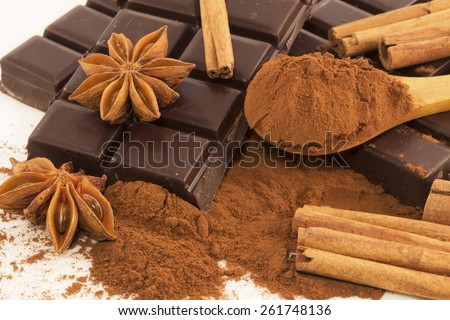 Chocolate, cocoa, anise and cinnamon close up - stock photo