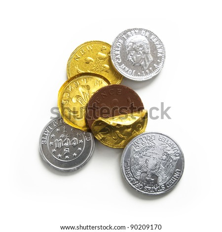 Chocolate Coins, gold and silver, isolated on white background with shadow