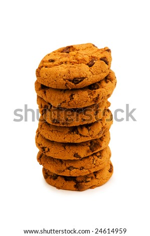 Chocolate cookies isolated on the white background - stock photo