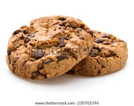 Chocolate cookies isolated on white background cutout - stock photo