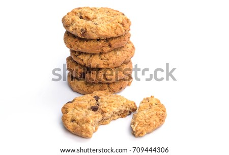 Chocolate Cookies Oatmeal Cookies White Background, homemade pastries
