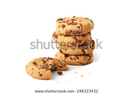 chocolate cookies on white