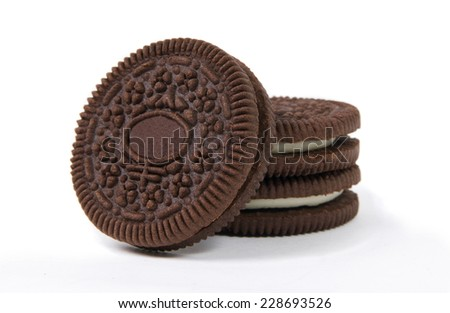 chocolate cookies on white surface - stock photo