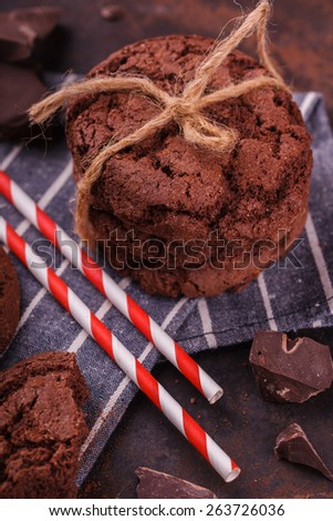 Chocolate cookies with chocolate on a dark background.selective focus - stock photo