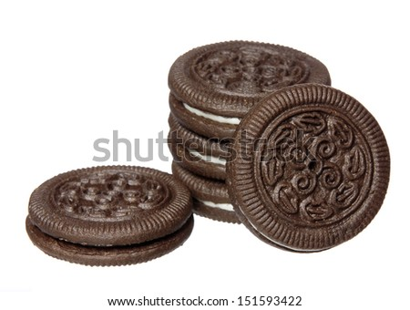 Chocolate cookies with cream filling isolated on white background. - stock photo