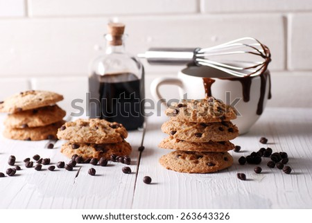 chocolate cookies with ingredients around